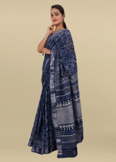 Indigo Blue & Ivory White  Block Print Linen Cotton Saree-yespoho
