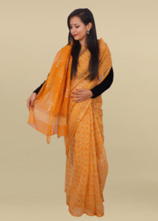 Mustered Yellow Geometric Block Print kotta saree-yespoho