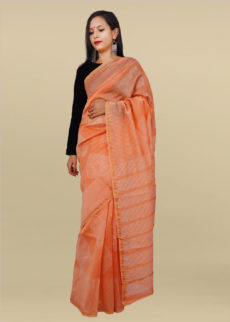 Peach Geometrical Hand Block Print Chanderi Saree-yespoho