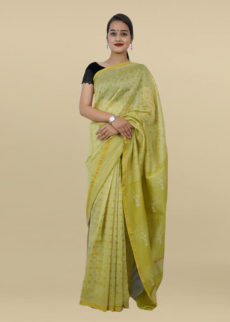 Light Green Hand Block Print Chanderi saree-yespoho