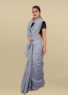 Light Blue Colour Hand  Block Print Chanderi Saree-yespoho