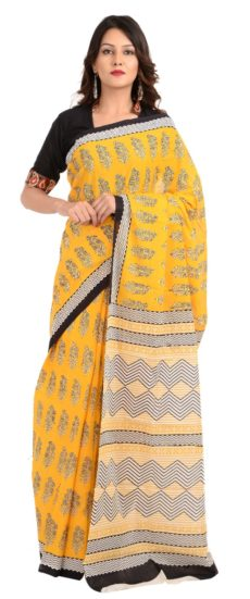 Yellow Cotton Hand Block Print Saree With Blouse-yespoho