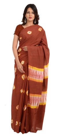 Brown Cotton Hand Block Print Saree.-yespoho