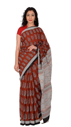Brown Floral Cotton Hand Block Print Saree.-yespoho