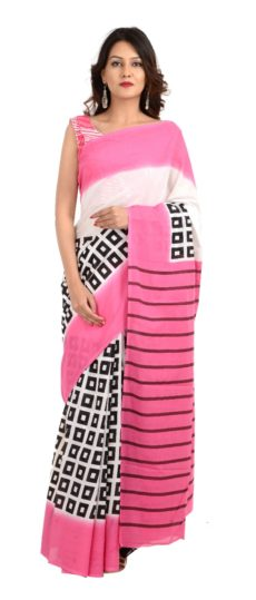 Pink Cotton Hand Block Print Saree.-yespoho