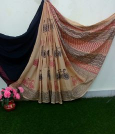 Beige Cotton Hand Block Print Saree-yespoho