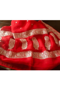 Red Chiffon Saree with Banarasi Design-yespoho
