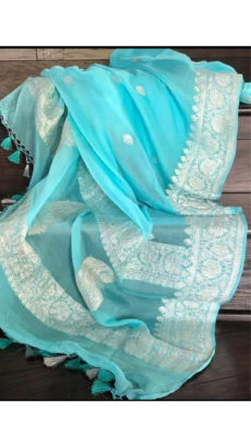 Sky Blue Chiffon Saree With Banarasi Silver Zari Design-yespoho