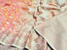 Light Pink Hand woven Design Saree-yespoho