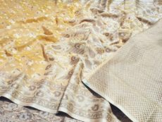 Lemon Yellow Hand woven Design Saree-yespoho