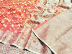 Pink Floral Hand woven Design Saree-yespoho