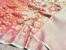 Pink Hand woven Design Saree-yespoho