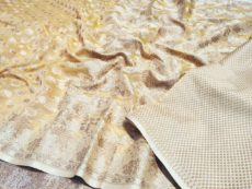 Cream Yellow  Hand woven Design Saree-yespoho