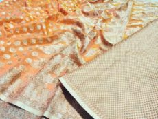 Orange  Hand woven Design Saree-yespoho