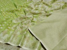 Parrot Green  Hand woven Design Saree-yespoho