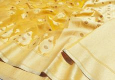 Lemon Yellow Silk Cotton Hand Woven Design Saree-yespoho