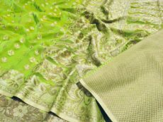 Parrot Green Silk Cotton Hand Woven Design Saree-yespoho