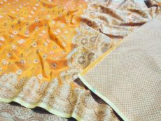 Golden Yellow Silk Cotton Hand Woven  Design Saree-yespoho