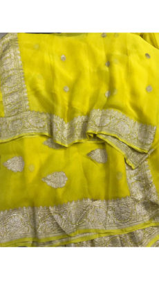 Lemon Yellow Chiffon Saree With Banarasi Design-yespoho