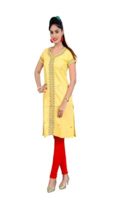 Yellow Embroidered khadi kurti-yespoho