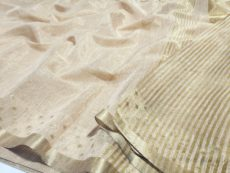 Cream Hand Woven Banarasi Semi Silk Saree-yespoho