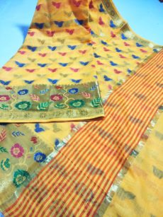 Yellow Maheshwari Hand woven Cotton Silk Saree-yespoho
