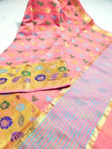 Light Pink Maheshwari Hand Woven  Cotton Silk  Sarees-yespoho