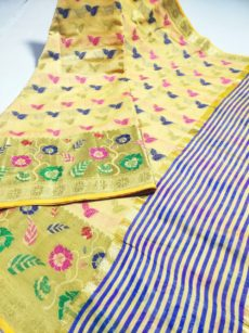 Cream Yellow  Maheshwari Hand Woven Cotton Silk  Saree-yespoho