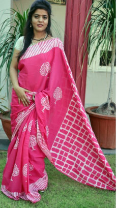 Pink Cotton Batik Saree-yespoho