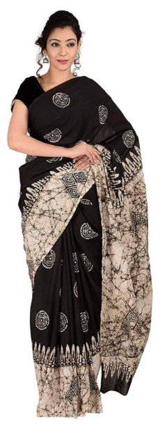 Black Cotton Batik Saree-yespoho