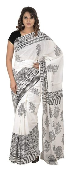 White Cotton Hand Block Print Saree-yespoho
