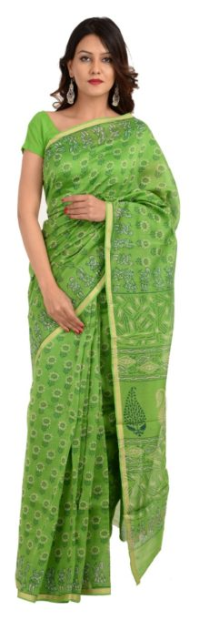 Green Chanderi Hand Block Print Saree.-yespoho