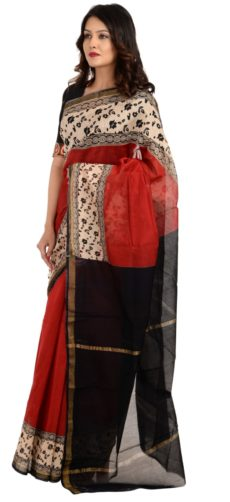 Red And  Black Chanderi Hand Block Print Saree-yespoho