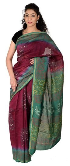Maroon And Green Chanderi Hand Block Print Saree-yespoho