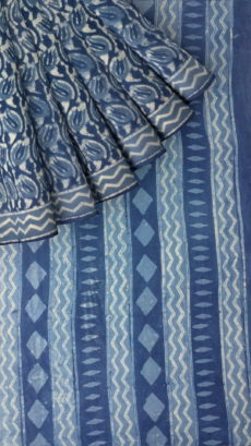 Indigo Blue Wave pattern Dabu Mud Designer printed cotton saree.-yespoho