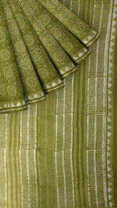 Forest Green  Flower pattern Dabu Mud Designer printed cotton saree.-yespoho