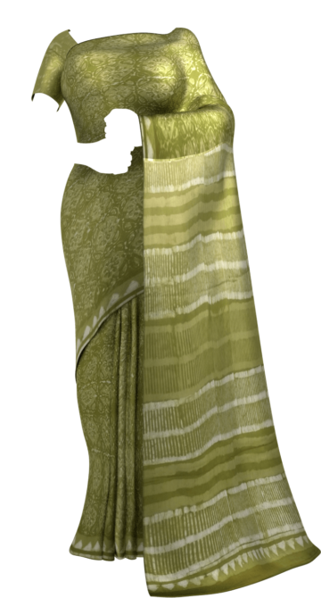 Forest Green  Flower pattern Dabu Mud Designer printed cotton saree. Yespoho Sarees Handpicked Collections New Arrivals