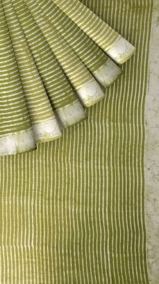 Forest Green Stripes Dabu Mud Designer printed cotton saree.-yespoho