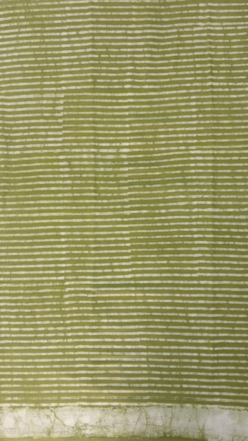 Yespoho Forest Green Stripes Dabu Mud Designer printed cotton saree.