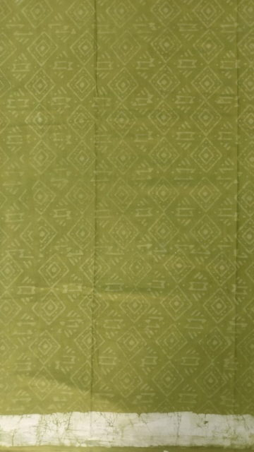 Shop Forest Green Stripes Dabu Mud Designer printed cotton saree. Online