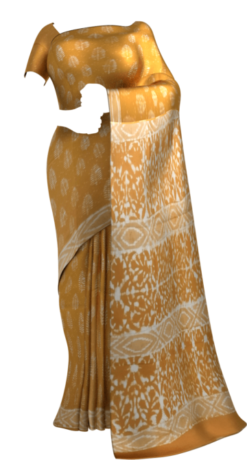 Mustard Yellow Leaf Pattern Dabu Mud Designer printed cotton saree. Yespoho Sarees Handpicked Collections New Arrivals