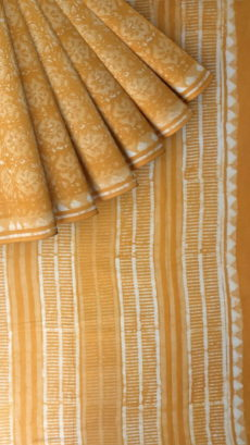 Mustard Yellow Flower Pattern Dabu Mud Designer printed cotton saree.-yespoho