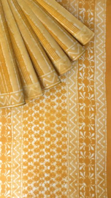 Mustard Yellow Floral Pattern Dabu Mud Designer printed cotton saree.-yespoho