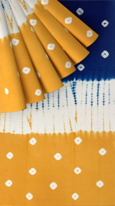 Blue, White,Mustard Dabu Mud  Designer Printed Cotton Saree.-yespoho