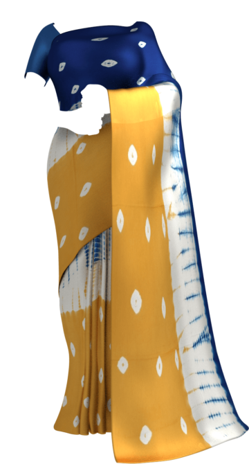 Blue, White,Mustard Dabu Mud  Designer Printed Cotton Saree. Uncategorized