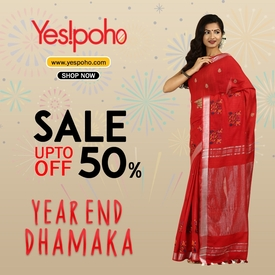 Borderless Kanchipuram Silk Saree with Zari Brocket-yespoho