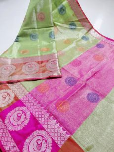 Parrot Green Zari Tissue Cotton Silk Sarees-yespoho