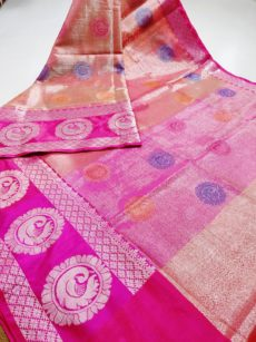 Onion Pink  Zari Tissue Cotton Silk  Sarees-yespoho