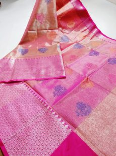 Onion Pink  Zari Floral  And Leaf Motif Zari Tissue Cotton Silk  Saree-yespoho