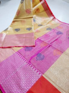 Yellow Zari Floral  And Leaf Motif Zari Tissue Cotton Silk  Saree-yespoho